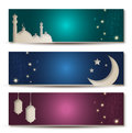 Ramadan banners set of elegant with sparkles Royalty Free Stock Photos