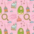 Ramadan doodle seamless pattern with `ramadan kareem` written in arabic