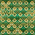 Ramadan element cut six star green gold diamond shape seamless pattern