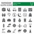 Ramadan glyph icon set, islamic symbols collection, vector sketches, logo illustrations, muslim signs solid pictograms