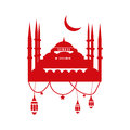 Ramadan Greeting Card Template with mosque, ramadan lanterns