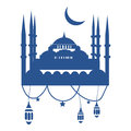 Ramadan Greeting Card Template with mosque, ramadan lanterns