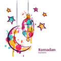 Ramadan greeting card with traditional watercolor lantern, moon and stars.