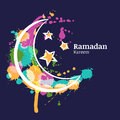 Ramadan greeting card with watercolor decorative moon and stars on blue night sky.