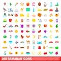 100 ramadan icons set, cartoon style