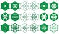 Ramadan Islam six stars six petals sign set