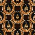 Ramadan Islam twin moon symmetry seamless pattern