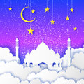 Ramadan Kareem. Arabic Mosque, gold stars, clouds in paper cut style. Crescent Moon. Night sky. Origami Greeting card