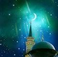 Ramadan Kareem background.Crescent moon at a top of a mosque.Islamic greeting Eid Mubarak cards for Muslim