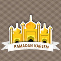 Ramadan kareem background illustration of golden mosque on abstract for Royalty Free Stock Image