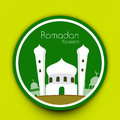Ramadan kareem background illustration of mosque on abstract green for Royalty Free Stock Images