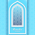 Ramadan Kareem Background. Islamic Arabic window. Greeting card. Vector illustration.