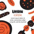 Ramadan kareem banner concept. Vector illustration of middle eastern cuisine