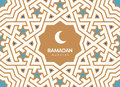 Ramadan Kareem beautiful greeting card. Background with crescent moon and traditional morocco pattern