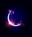 Ramadan kareem card with moon and flares over dark background Stock Image