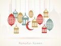 Ramadan Kareem celebration with hanging Arabic lanterns..