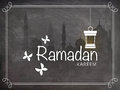 Ramadan Kareem celebration with Mosque and Arabic lantern. Royalty Free Stock Photo