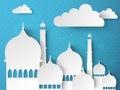 Ramadan Kareem celebration with paper Mosque.