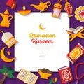 Ramadan Kareem concept banner on violet