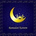 Ramadan Kareem Golden Vector. Moon and Mosque