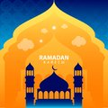 Ramadan kareem on green abstract background