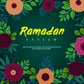 Ramadan Kareem greeting background decorated with flowers, leaves. Paper cutting style floral design Ramadan Kareem greeting card