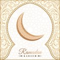 Ramadan Kareem greeting background islamic symbol crescent with arabic pattern - line calligraphy