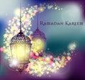 Ramadan Kareem greeting on blurred background with beautiful illuminated arabic lamp Vector illustration.