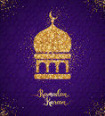 Ramadan Kareem greeting card with arabian mosque