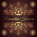 Ramadan kareem greeting card design with red maroon and golden mandala background. Vintage wallpaper background. Floral mandala