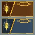 Ramadan kareem greeting card design template with lamp.