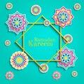 Ramadan Kareem greeting card. Islamic holidays design. Round elements,flowers. Floral pattern with text. 3D arabic illustra