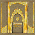 Ramadan Kareem greeting card with traditional islamic pattern, invitation or brochure in eastern style.