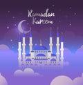 Ramadan Kareem greeting card. Vector Illustration for Muslim holy month Ramadan Kareem.