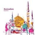 Ramadan Kareem holiday design. Watercolor sketch illustration of mosque.