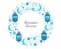 Ramadan Kareem with Lamps, Crescents and Stars. Traditional lantern of Ramadan circle frame blue vector illustration Royalty Free Stock Photo
