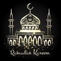 Ramadan kareem night mosque with lights Royalty Free Stock Photo