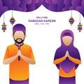 Ramadan Kareem Parents Islamic flat Illustation-vector islamic illustration flat