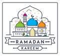 Ramadan Kareem with simple Mosque
