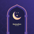 Ramadan kareem vector background with night sky moon stars in the window greeting card template place for text design concept Stock Photography
