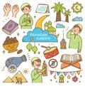 stock image of  Ramadan kawaii doodles