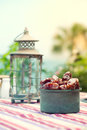 Ramadan lamp and dates fruit still life served during holy month Royalty Free Stock Image
