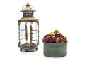 Ramadan lamp and dates still life isolated on white background Stock Photo