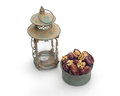 Ramadan lamp and dates still life isolated on white background Royalty Free Stock Images