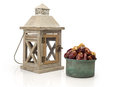 Ramadan lamp and dates still life isolated on white background Stock Images