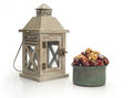 Ramadan lamp and dates still life on white background Royalty Free Stock Photos
