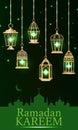 Ramadan lantern green light vertical