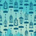 Ramadan lantern vertical hang conect seamless pattern this illustration is silhouette connect with islamic building in Stock Images