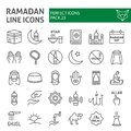 Ramadan line icon set, islamic symbols collection, vector sketches, logo illustrations, muslim signs linear pictograms