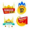 Ramadan Sale Design Set. Flat Design Vector Template for Label, Sticker, Poster, Flyer, Banner. Islamic Mosque, Moon and Star Royalty Free Stock Photo